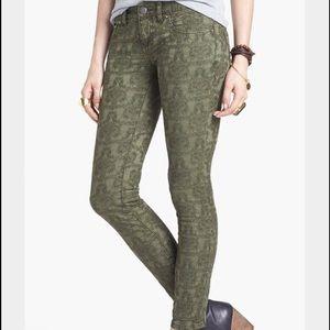Free People Olive Vintage Jacquard Jeans